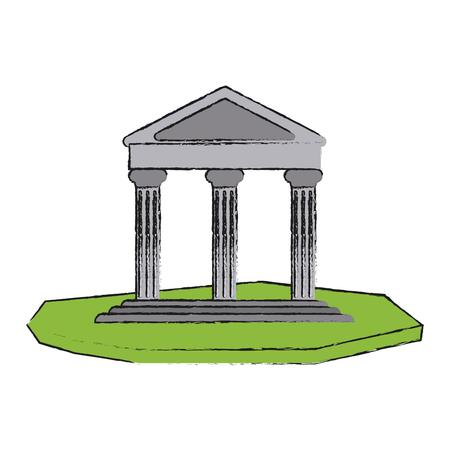 ancient greek building on floating land icon image vector illustration design Illustration