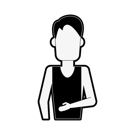 man wearing tank top and cargo shorts avatar full body icon image vector illustration design Vektoros illusztráció
