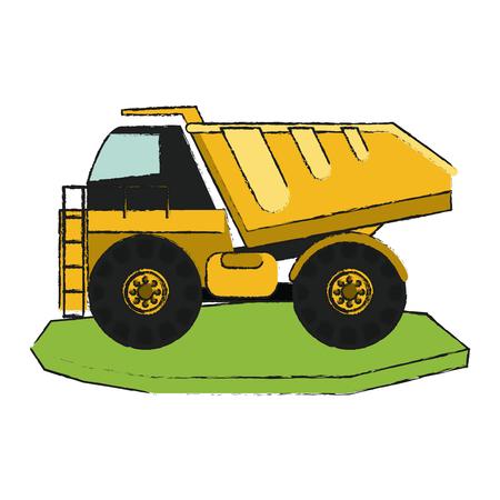 quarry: dump truck heavy machinery construction icon image vector illustration design