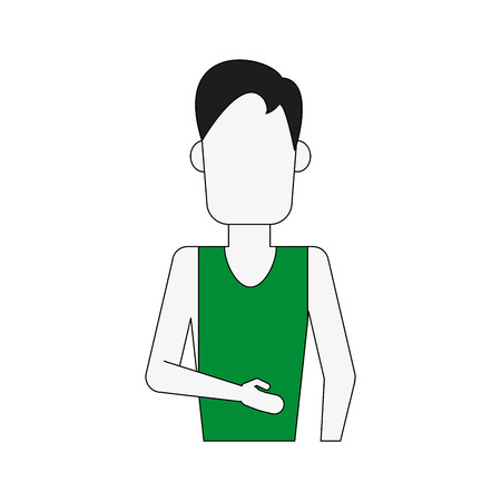 man wearing tank top and cargo shorts avatar full body icon image vector illustration design