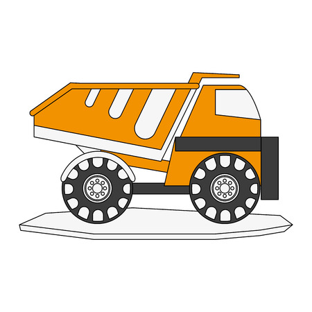 earth mover: dump truck heavy machinery construction icon image vector illustration design