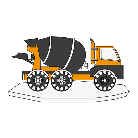 earth mover: cement truck heavy machinery construction icon image vector illustration design Illustration