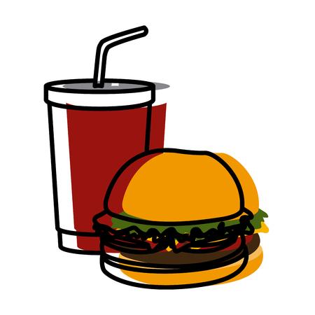 hamburger and soda icon vector illustration graphic design