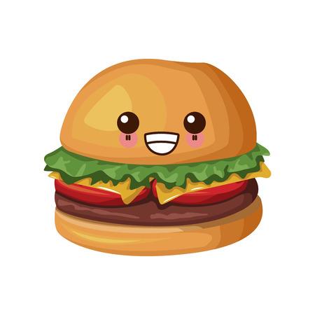 Hamburger fast food cute cartoon character illustration.