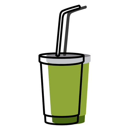 Soda cup with straw icon vector illustration graphic design.