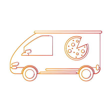 Pizza delivery vehicle icon vector illustration graphic design Illustration
