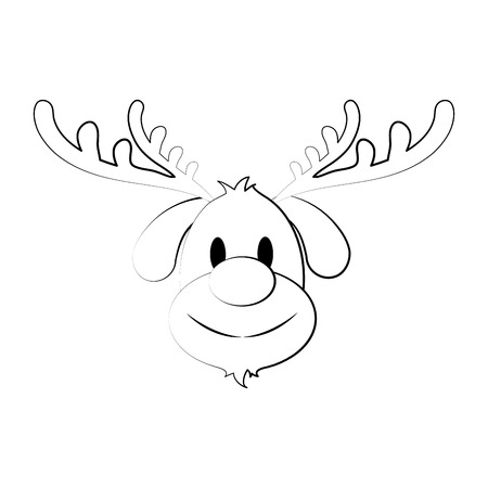 reindeer rudolph christmas related icon image vector illustration design