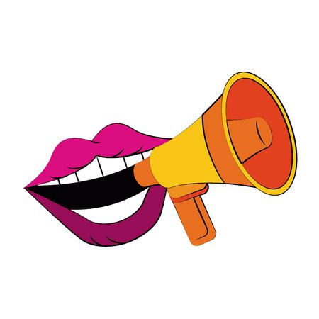 grosse bouche parlant mégaphone ou mégaphone icône image design vecteur illustration Vecteurs