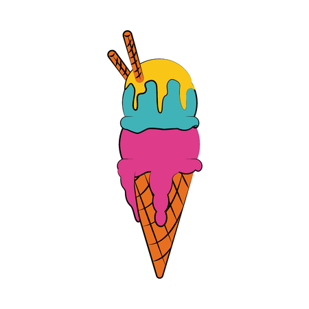 ice cream cone with two scoops icon image vector illustration design