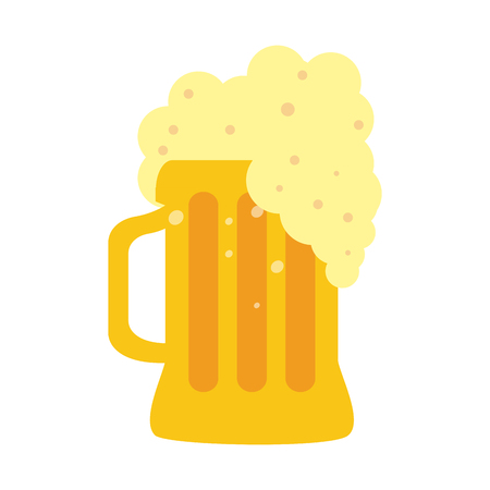 glass of beer with foam icon image vector illustration design