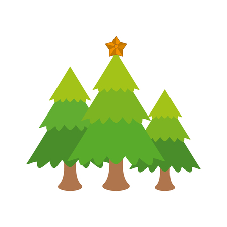 tree with star on top christmas related icon image vector illustration design