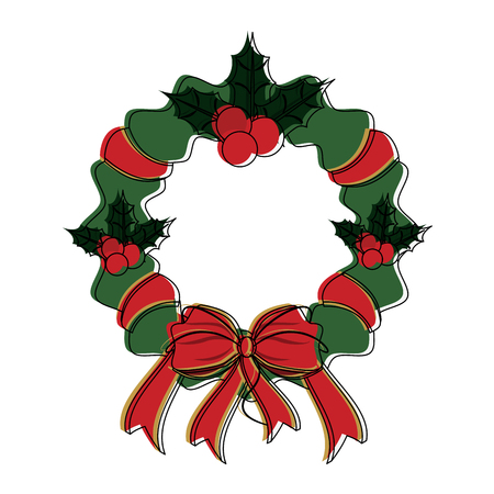 wreath with red ribbon and bow christmas related icon image vector illustration design