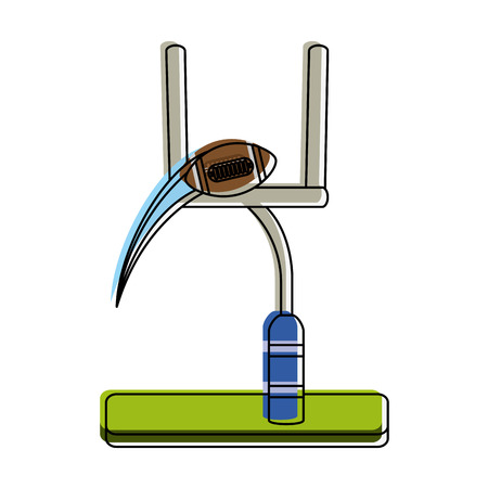goal post and ball american football related icon image vector illustration design Illustration