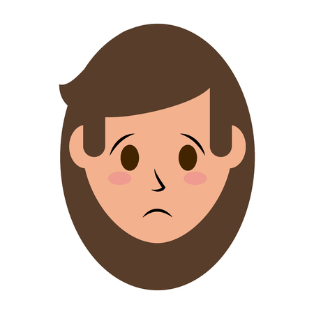 Woman with sad face clip-art design illustration.