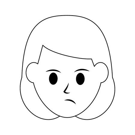 woman disgruntled icon image vector illustration design  black line