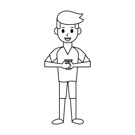 happy man with coffee cup icon image vector illustration design  black line