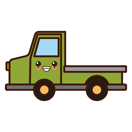 Pick up vehicle cute kawaii cartoon vector illustration.