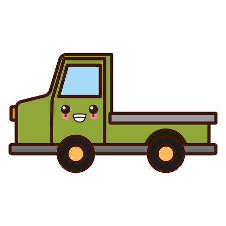 Pick up vehicle cute kawaii cartoon vector illustration. Imagens - 88590455