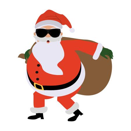 선물로 몰래 선글라스를 착용하는 산타 클로스 만화 아이콘 이미지 벡터 일러스트 디자인