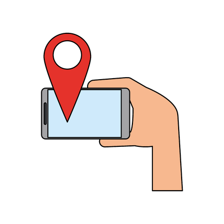 Hand holding smartphone with gps pin icon image vector illustration design. Illustration