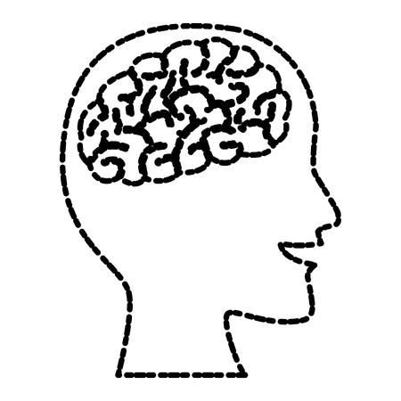 Human brain head silhouette icon vector illustration graphic design