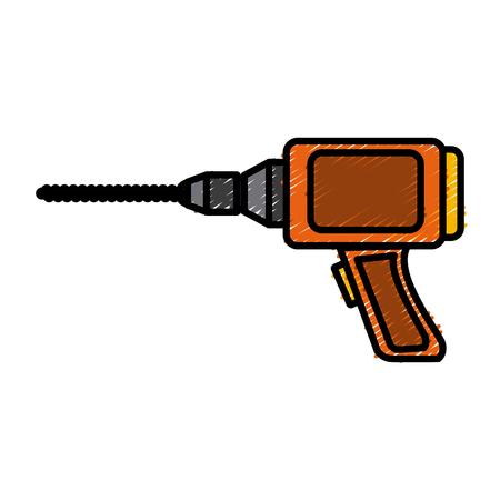 Drill Construction tool icon vector illustration graphic design