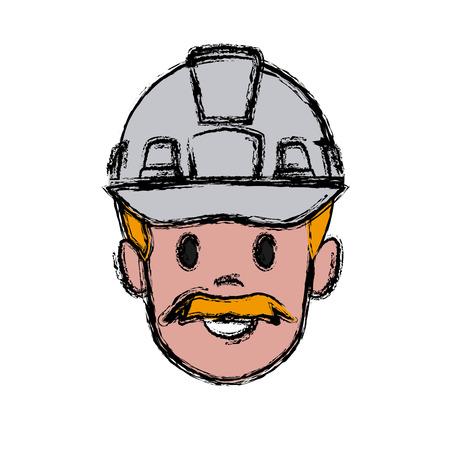 Construction worker cartoon icon vector illustration graphic design