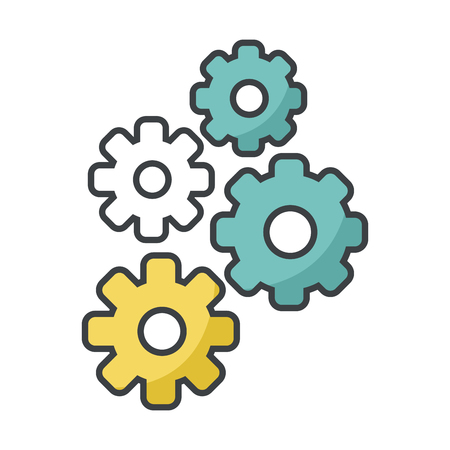 processors: Gears machinery pieces icon vector illustration graphic design Illustration
