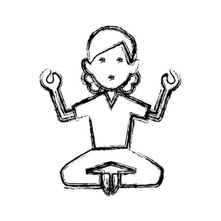 Woman doing yoga icon vector illustration graphic design