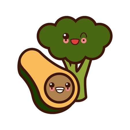 Avocado and broccoli cute smiling vector illustration