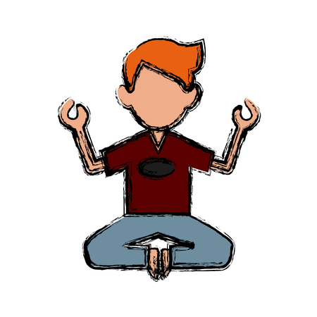 Man doing yoga icon vector illustration graphic design