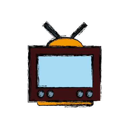Old tv technology icon vector illustration graphic design Illustration