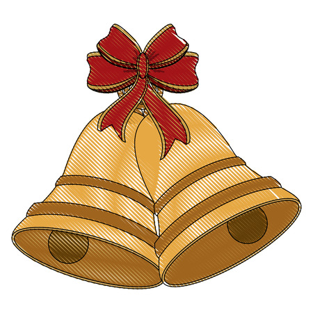 bell with ribbon bow ornament christmas related icon image vector illustration design