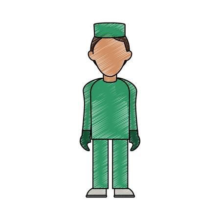 lifeline: nurse man avatar icon image vector illustration design