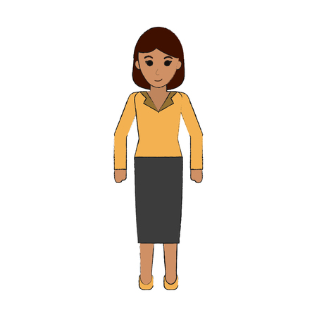 young business woman full body icon image vector illustration design Illustration
