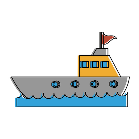 ship on water icon image vector illustration design