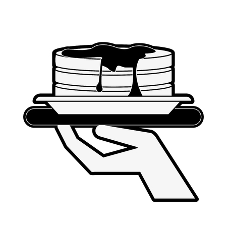 serving tray: Pancakes with waiter hand icon image vector illustration design