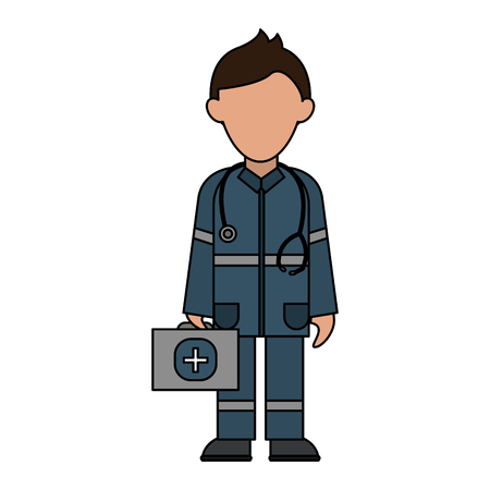 paramedic holding first aid kit avatar icon image vector illustration design