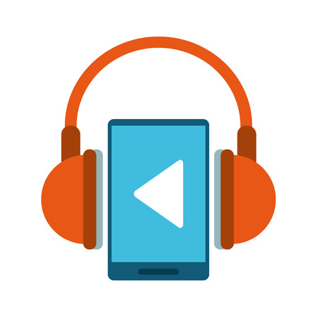 portable music player with headphones icon image vector illustration design