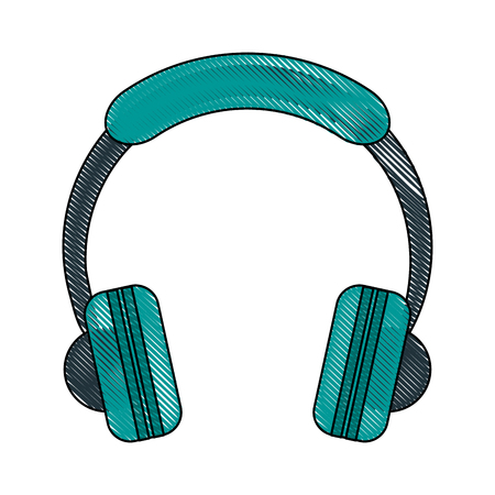 input device: Music headphones device icon vector illustration graphic design Illustration