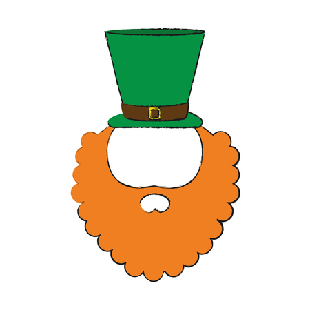 leprechaun hat and beard saint patricks day related icon image vector illustration design