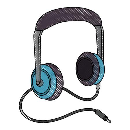 Music headaphones device icon vector illustration graphic design Illustration