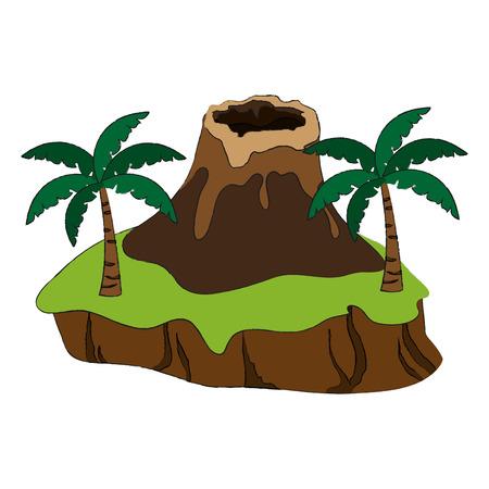 Nature volcano landscape icon vector illustration graphic design. Illustration