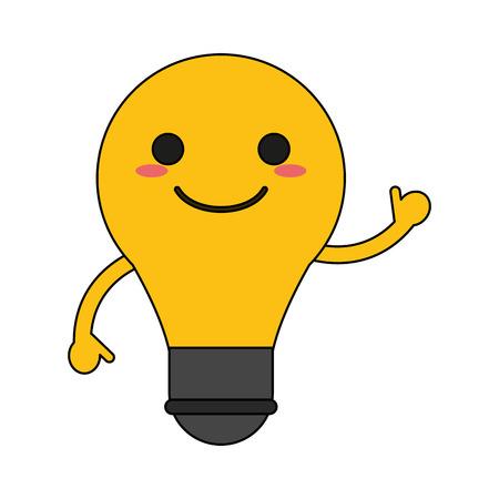 電球ハッピー漫画のキャラクターは手を振ってアイコン画像ベクトルイラストデザイン。  イラスト・ベクター素材