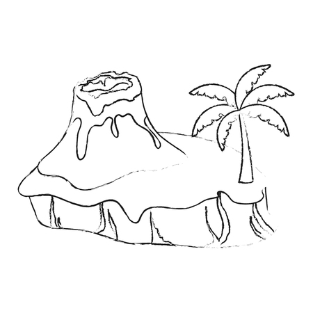 Nature volcano landscape icon vector illustration graphic design