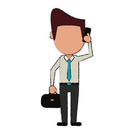 Businessman avatar using cellphone icon image vector illustration design