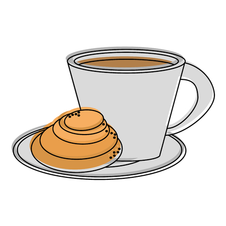 coffee with pastry icon image vector illustration design