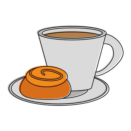 Café avec pâtisserie icône image vectorielle illustration design Banque d'images - 88940769