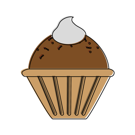 muffin with whipped cream   pastry icon image vector illustration design