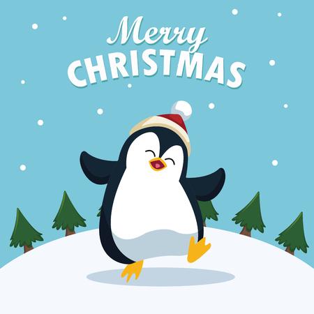 Merry christmas cartoon icon vector illustration graphic design